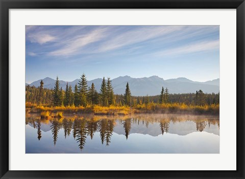 Framed Canada, Alberta, Jasper National Park Scenic of Cottonwood Slough Print