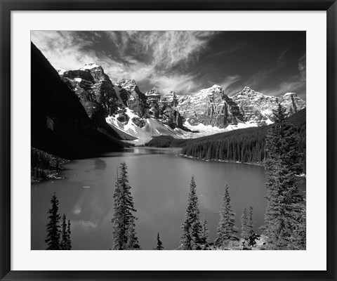Framed Wenkchemna Peaks reflected in Moraine lake, Banff National Park, Alberta, Canada Print