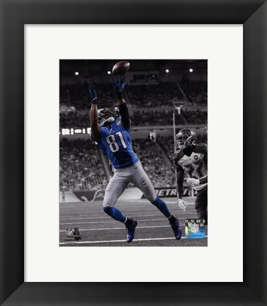 Framed Calvin Johnson 2014 Spotlight Action Print