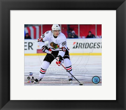 Framed Patrick Kane 2015 NHL Winter Classic Action Print