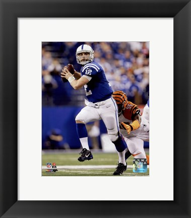 Framed Andrew Luck Touchdown Pass 2014 Playoff Action Print