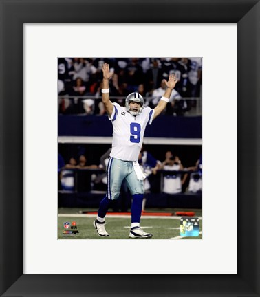 Framed Tony Romo Touchdown Celebration 2014 Playoff Action Print