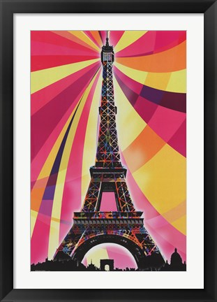 Framed Eiffel Tower – Psychedelic Print