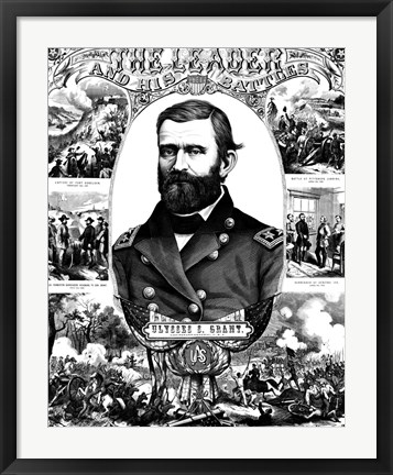 Framed Ulysses S Grant in Military Uniform Print