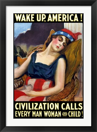 Framed Lady Liberty Sleeping - Wake Up, America! Print