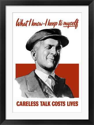 Framed Careless Talk Costs Lives - Man Winking Print