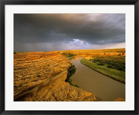 Framed Approaching storm on the Milk River at Writing on Stone Provincial Park, Alberta, Canada Print