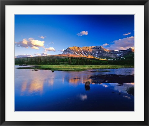 Framed Sofa Mountain Reflects in Beaver Pond, Wateron Lakes National Park, Alberta, Canada Print