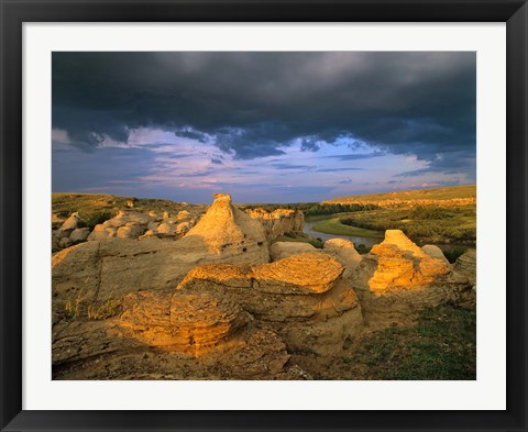 Framed Milk River, Writing on Stone Provincial Partk, Alberta Print
