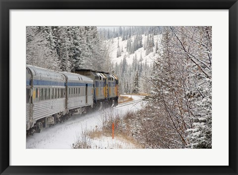 Framed Via Rail Snow Train Between Edmonton & Jasper, Alberta, Canada Print