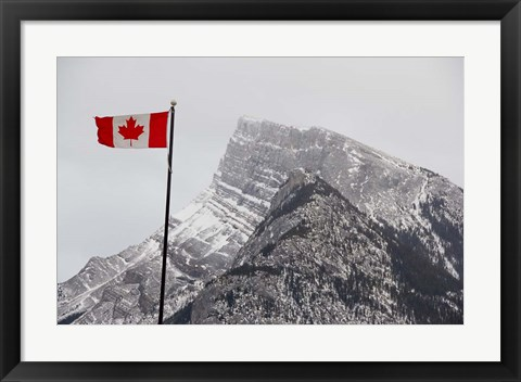 Framed Canada, Alberta, Banff Mountain view with flag Print