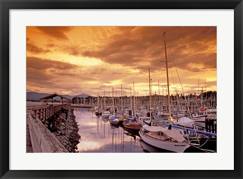 Framed Boats at Sunset, Comox Harbor, British Columbia Print
