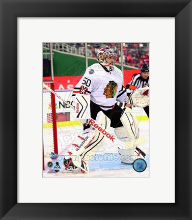 Framed Corey Crawford 2015 NHL Winter Classic Action Print