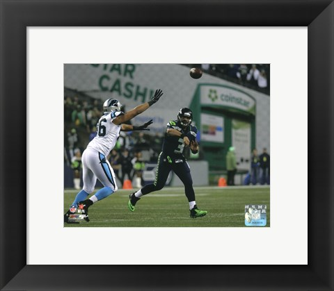 Framed Russell Wilson 2014 Playoff Action Print