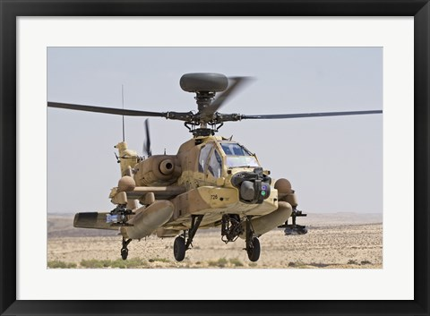 Framed AH-64D Saraf attack helicopter of the Israeli Air Force Print