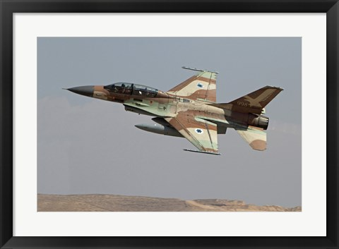Framed F-16B Netz of the Israeli Air Force in flight over Israel Print