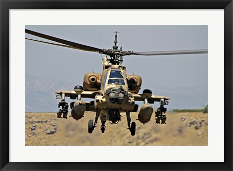 Framed AH-64A Peten attack helicopter Print