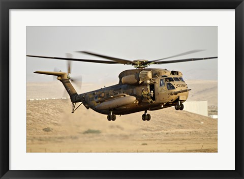 Framed CH-53 Yasur 2000 of the Israeli Air Force in a rescue demonstration Print