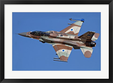 Framed F-16I Sufa of the Israeli Air Force in flight over Israel Print