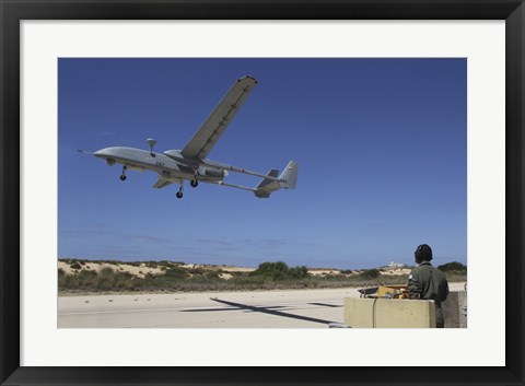 Framed IAI Heron Unmanned Aerial Vehicle takes off the runway Print