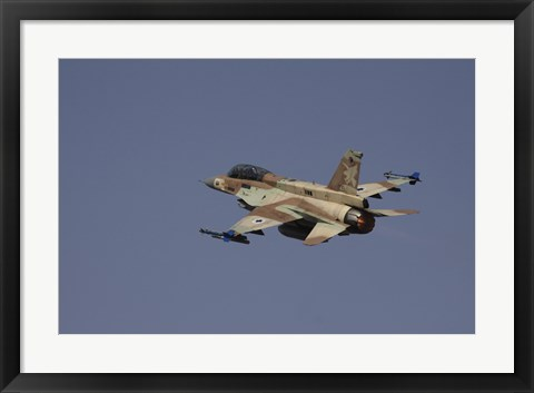 Framed F-16D Barak of the Israeli Air Force flying over Israel Print