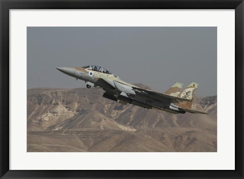 Framed F-15I Ra'am of the Israeli Air Force takes off from Ovda Air Force Base Print