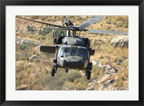 Framed UH-60L Yanshuf helicopter of the Israeli Air Force Print