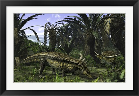 Framed Desmatosuchus search for edible roots in a prehistoric landscape Print