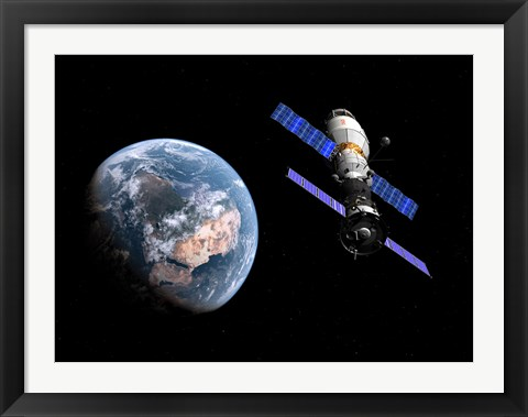 Framed manned Soyuz TMA-M spacecraft docked with an extended stay module Print
