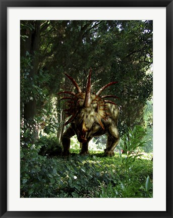 Framed Styracosaurus in a forest Print
