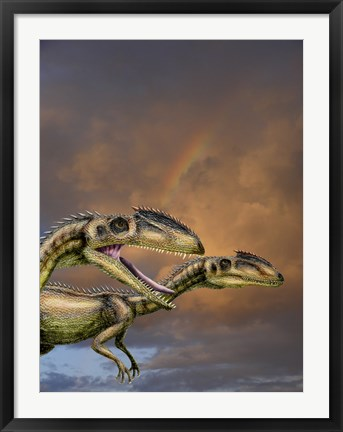 Framed Zupaysaurus rougieri, a theropod dinosaur of the Jurassic Period Print