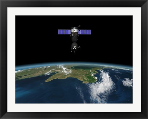 Framed Soyuz TMA-M spacecraft in low Earth orbit Print