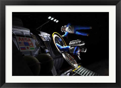 Framed Explorers in space suits exit an Asteroid Lander Print