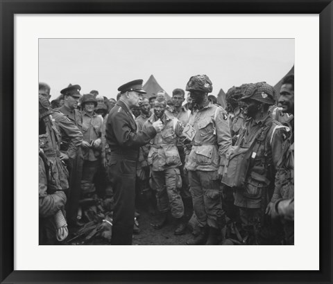 Framed General Dwight D Eisenhower with Soldiers of the 101st Airborne Division Print