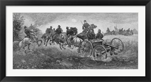Framed Vintage Civil War print of a team of horses pulling a cannon into battle Print