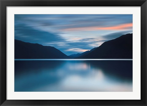 Framed Lake Crescent Dusk Print