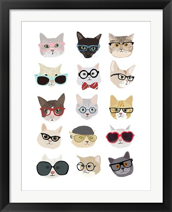 Framed Cats with Glasses Print
