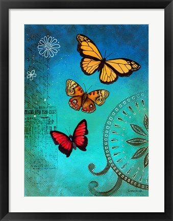 Framed Fluorescent Blue Butterfly Print
