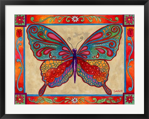 Framed Mosaic Butterfly Print
