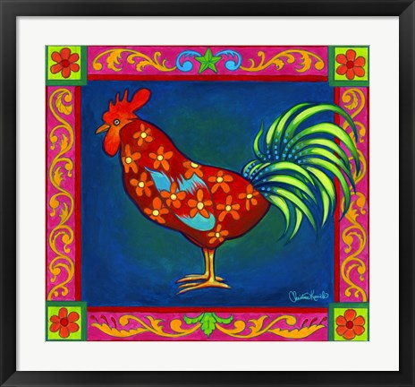 Framed Mosaic Rooster Print