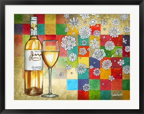 Framed Wine With White Squares Print
