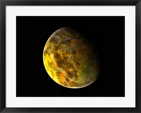 Framed Illustration of a Rocky and Variegated Extrasolar Planet, Gliese 581 C Print