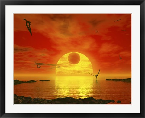 Framed Flying life Forms Grace the Crimson Skies of the Earth-like Extrasolar Planet Gliese 581 C Print