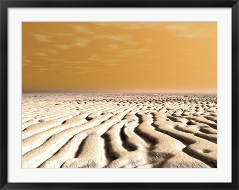 Framed Spring Sunrise Over the Surface of Mars' South Pole Print