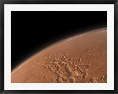 Framed Mars' Valles Marineris is Host to the Largest Canyons in the Solar System Print