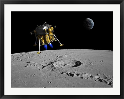Framed Lunar Lander Begins its Descent to the Moon's Surface Print