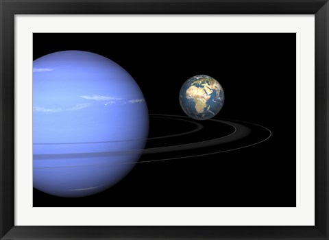 Framed Artist' concept of Neptune and Earth Print