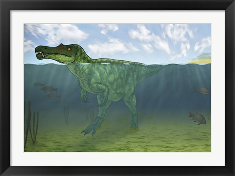 Framed Baryonyx Swimming Amongst Some Lepidotes Fish Print