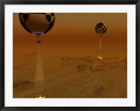 Framed Pair of Balloon-Borne Probes Leisurely Survey the Surface of Titan Print