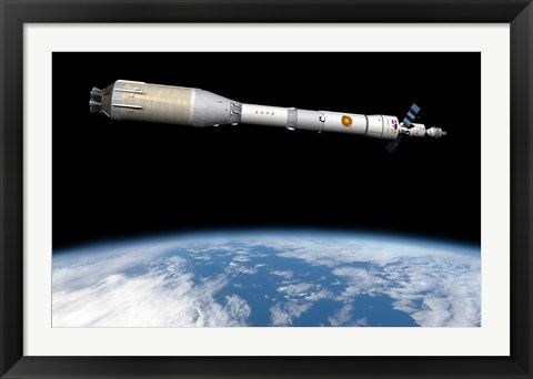 Framed Phobos Mission Rocket System Ready for Departure Print